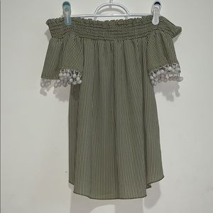 Papaya Green White Striped Off the Shoulder Small